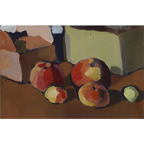 Ohne Titel (Äpfel, Zitrone, Karton)