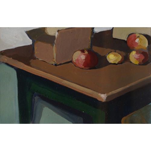 Ohne Titel (Tisch,Karon,4 Äpfel)