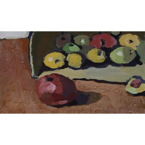 Ohne Titel (Karton/Äpfel,Tisch)