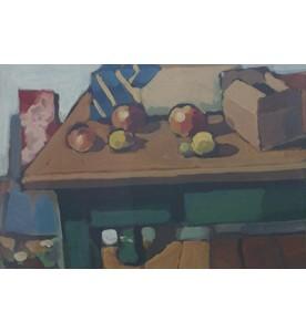 Ohne Titel (Karton,Äpfel auf Tisch)