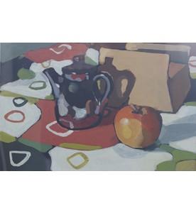 Ohne Titel (Kaffeekanne u. Apfel)